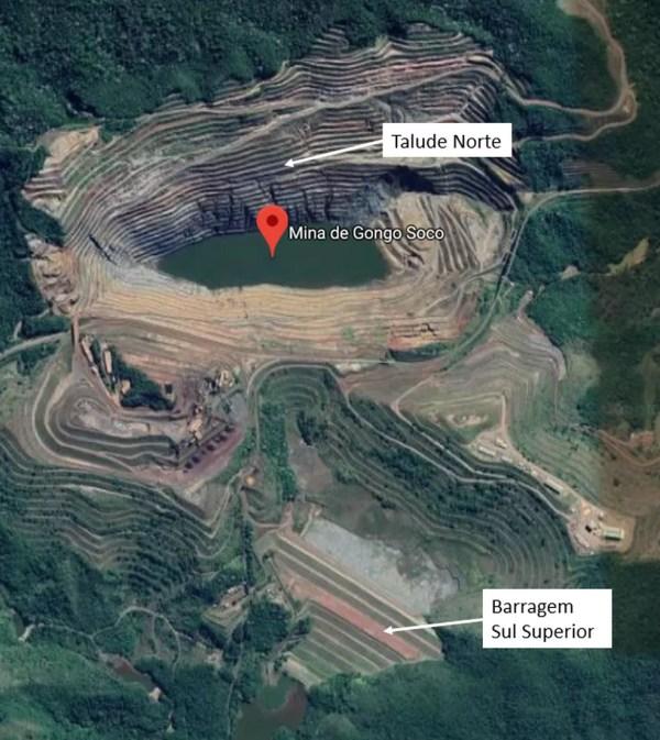Localização do talude norte da Mina de Gongo Soco — Foto: Vale/Divulgação