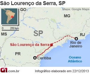 Mapa acidente Rodovia Régis Bittencourt (Foto: Arte/G1)