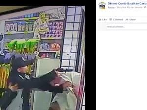 Vídeo postado em redes sociais mostra momento que PM foi baleado (Foto: Reprodução Facebook)