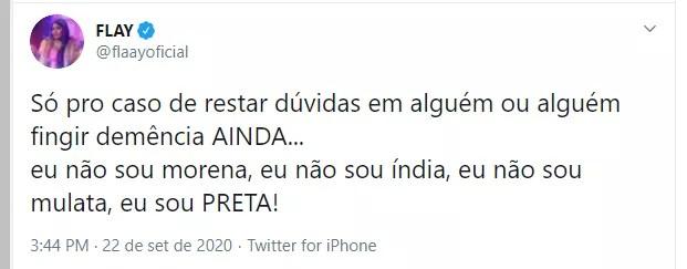 Flay fala sobre ser preta no Twitter (Foto: Reprodução/Twitter)
