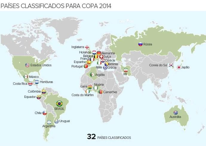 Info mapa 32 países classificados copa do mundo brasil (Foto: arte esporte)