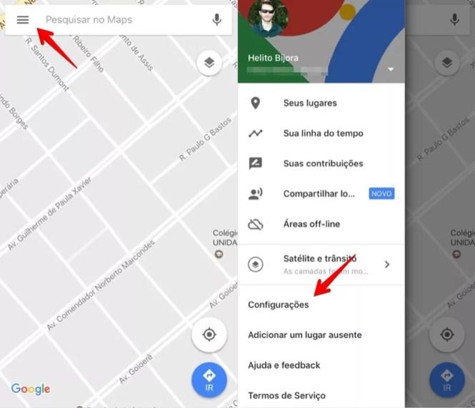 Ir a la configuración de Google Maps (Foto: Reproducción / Helito Bijora)