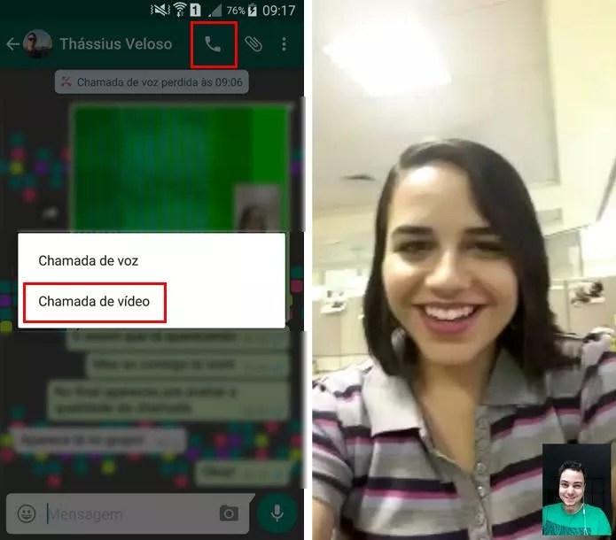 Selecione o contato que deseja ligar e escolha a opção vídeo (Foto: Reprodução/ Aline Batista)