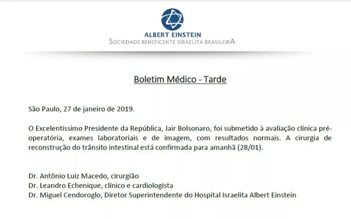 Boletim médico de Jair Bolsonaro foi divulgado na tarde deste domingo — Foto: Reprodução