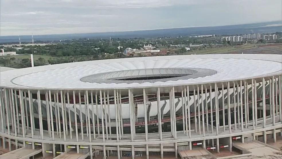 Estádio Mané Garrincha em imagem aérea de fevereiro de 2018 — Foto: TV Globo/Reprodução