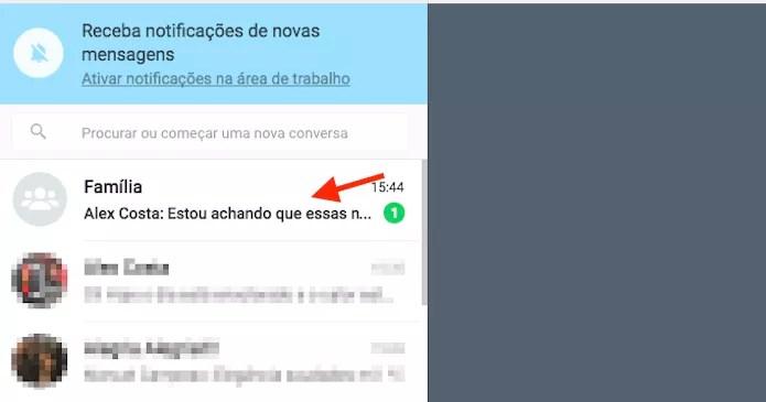 Mensagem não lida em um chat de grupo no WhatsApp Web (Foto: Reprodução/Marvin Costa)