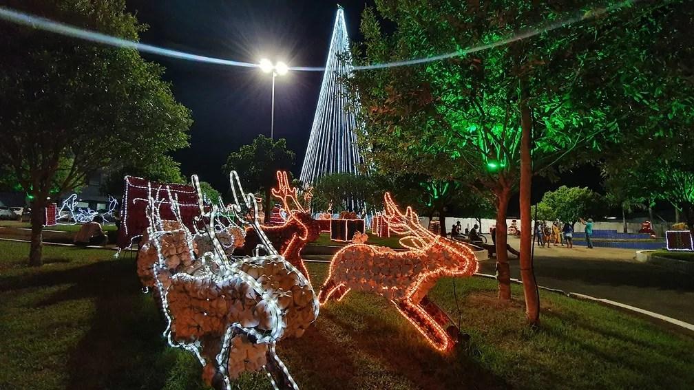 Principais praças de Jaru (RO) receberam decoração de natal  — Foto: Reprodução/Prefeitura de Jaru