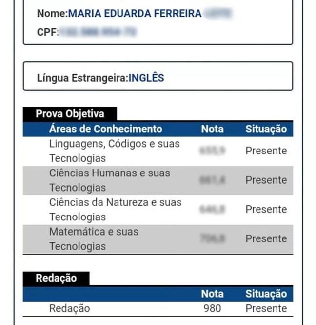 Boletim do Inep mostra nota da redação de Maria Eduarda Ferreira, estudante da cidade de Pombal, na Paraíba — Foto: Reprodução/Inep