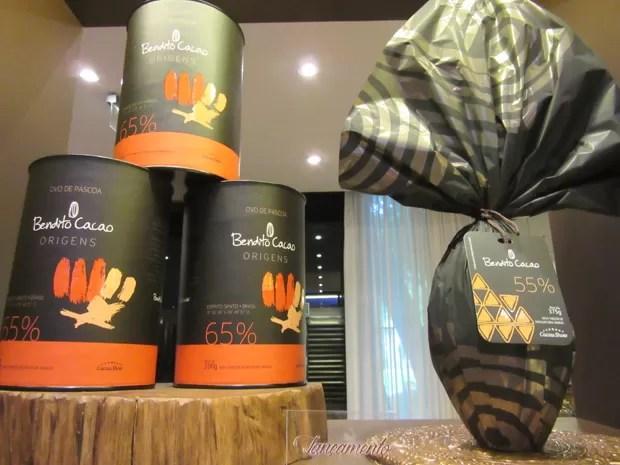 A Cacau Show lançou os ovos Bendito Cacao com teor de cacau de 55% e 65% (Foto: Marta Cavallini/G1)