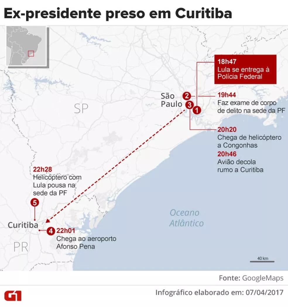 Lula se entrega à PF e é levado de avião para Curitiba (Foto: Infografia: Rodrigo Cunha/G1)