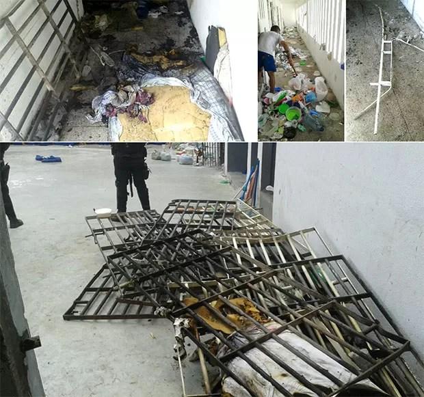 No Presídio Provisório Raimundo Nonato, em Natal, os presos também causaram muitos estragos (Foto: Grupo de Escolta Penal (GEP))