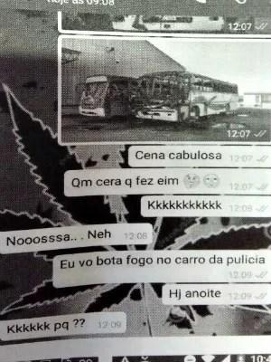 Em conversa pelo celular, um novo ataque, dessa vez a veículos da polícia, era planejado (Foto: Divultação/Polícia Civil de MT)