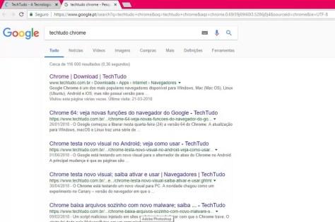 Resultado da pesquisa abre em outra aba no Chrome (Foto: Reprodução/ Taysa Coelho)