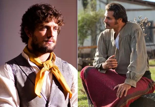 As caracterizações de Florêncio Terra (Rafael Cardoso) e de Capitão Rodrigo (Thiago Lacerda) (Foto: Globo)