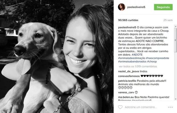 Paolla Oliveira com seu animal de estimação (Foto: Reprodução/Instagram)