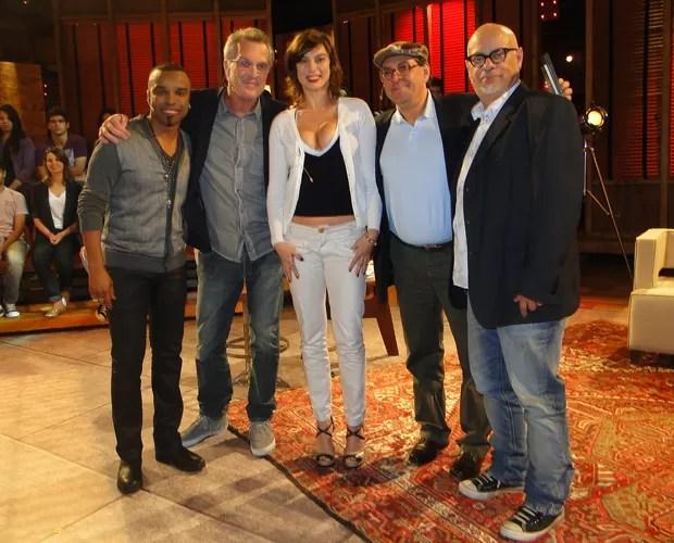 Alexandre Pires, Pedro Bial, Maria Paula, Antônio Carlos Queiroz e Luiz Felipe Pondé (Foto: Na Moral / TV Globo')