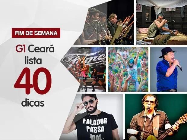 Happy Holi, espetáculos teatrais e shows regionais e de sertanejo são atrações do fim de semana no Ceará (Foto: Arte/ Sebastião Mota/G1)