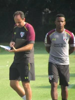 Rogério Ceni Thiago Mendes treino São Paulo (Foto: Marcelo Hazan)
