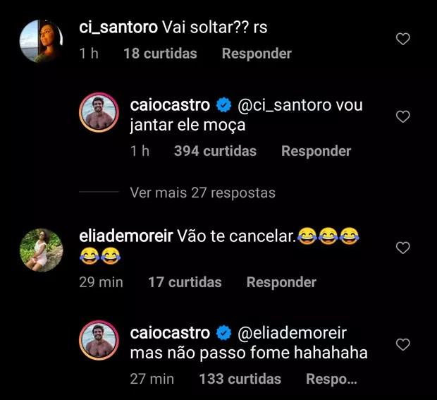 Caio Castro fala sobre dourado pescado em Noronha (Foto: Reprodução Twitter e Reprodução Instagram)