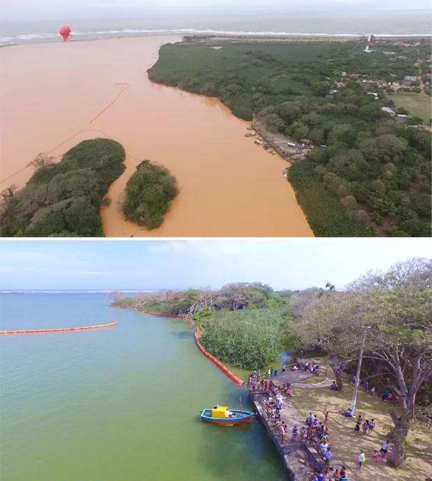 Acima, foz do Rio Doce com lama, neste domingo. Abaixo, o estuário sem lama, na sexta-feira (Foto: Secundo Rezende/ Zoom Filmes)