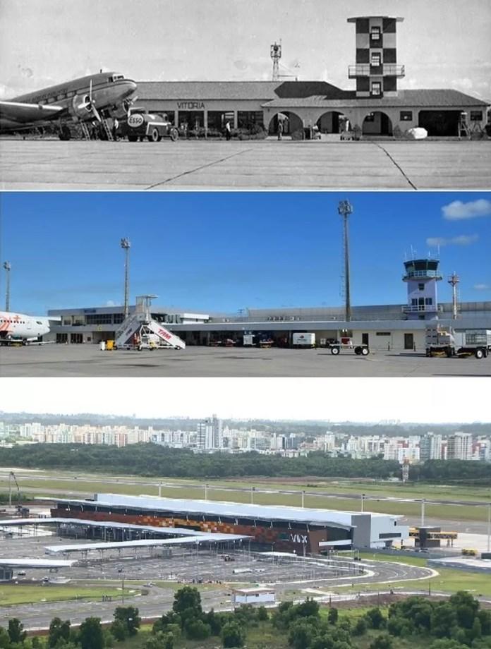 Imagens do aeroporto de Vitória com o passar dos anos; a primeira é da inauguração, a segunda do antigo terminal de passageiros, e a última do novo terminal inaugurado no dia 29 de março de 2018 (Foto: Montagem G1/ Arquivo - Infraero e Ari Melo - TV Gazeta)