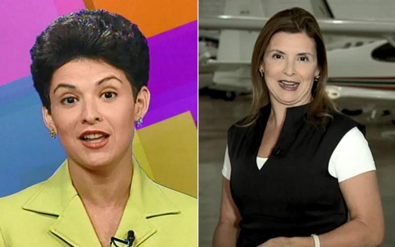 Apresentadora Luciane Viegas da EPTV em 1997 e na apresentação e reportagem especial da série Santô, de 2017, na EPTV. — Foto: Arte/G1