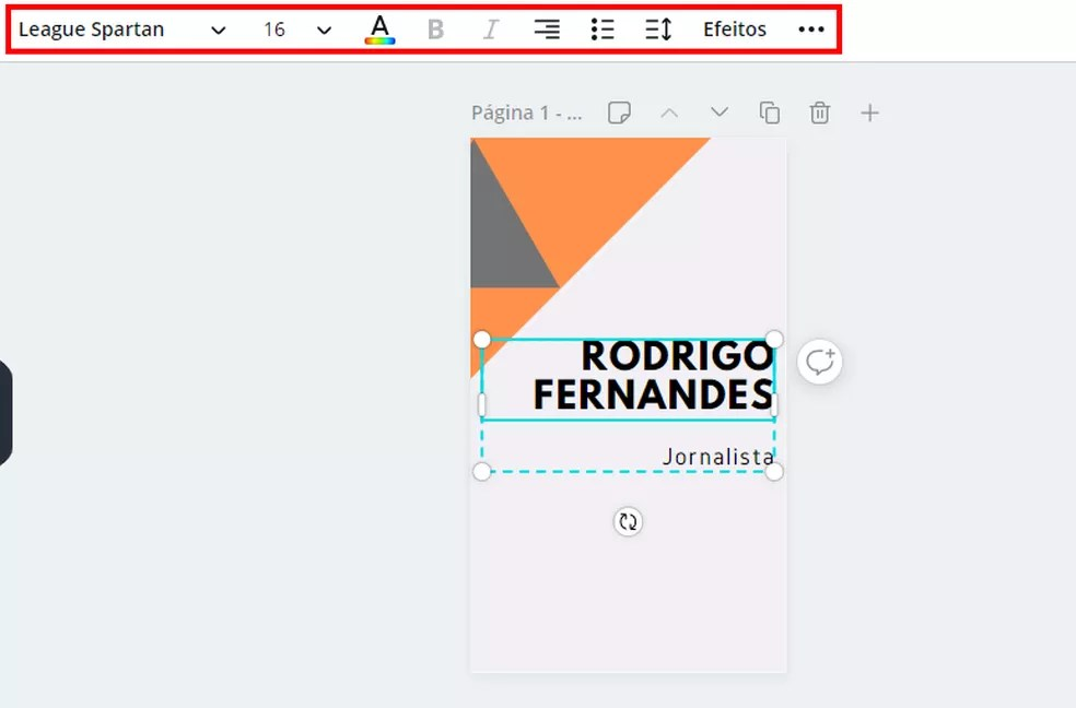 Canva permite editar textos, cores e fontes do cartão — Foto: Reprodução/Rodrigo Fernandes