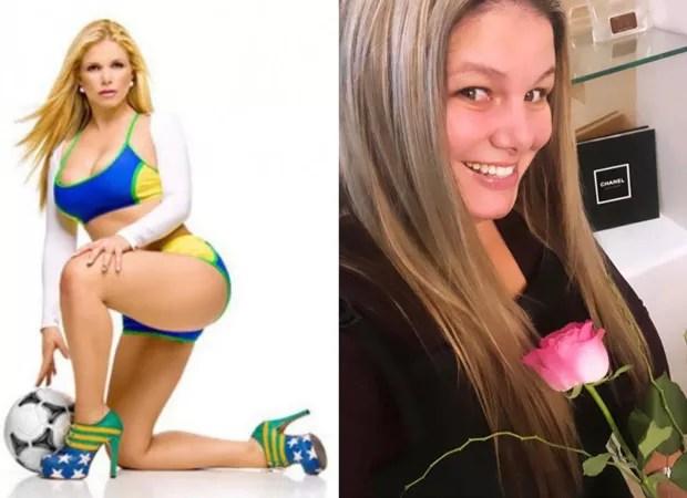 Viviane Brunieri na época de Ronaldinha e atualmente (Foto: Reprodução/ Instagram)