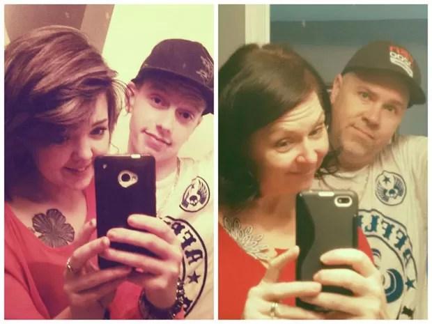 Como forma de brincadeira, americano 'clonou' selfie do filho e imitou trejeitos e até a roupa da dupla que aparecia na foto original (Foto: Reprodução/Imgur/perianderson)