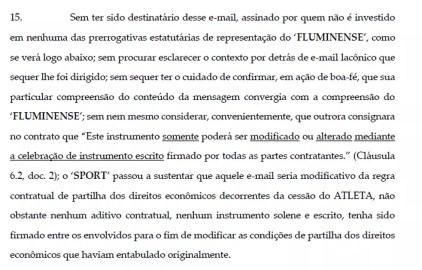 Petição do Fluminense (Foto: Reprodução)