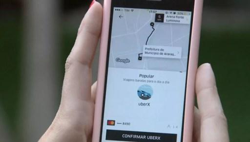 Moradores de Araraquara conseguem chamar motoristas da Uber (Foto: Reprodução/ EPTV)