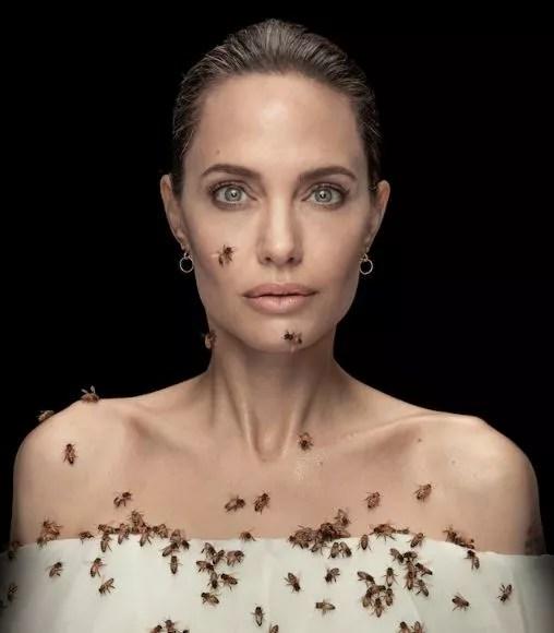angelina jolie-bees (Photo: Dan Winters/National Geographic)