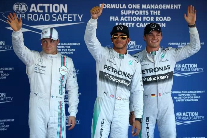 Lewis Hamilton entre Valtteri Bottas e Nico Rosberg: os três primeiros do grid para GP da Rússia (Foto: Getty Images) by G1