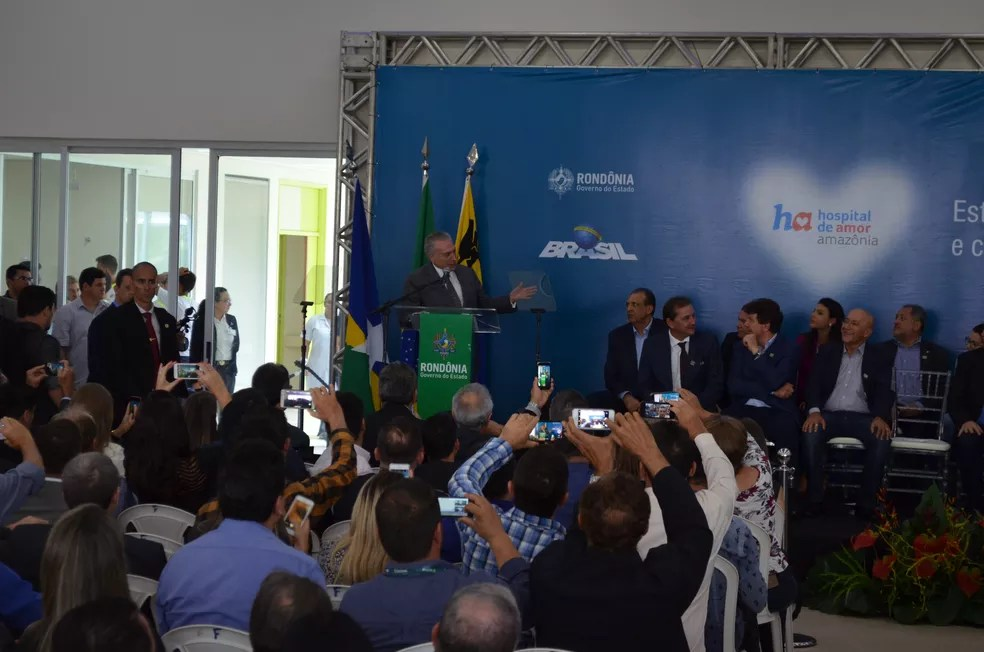 Temer fala durante discurso em Porto Velho (Foto: Jonatas Boni/G1)