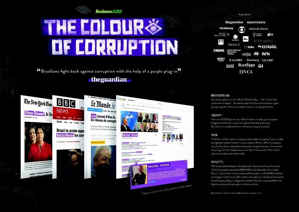 Projeto da Grey com o Reclame Aqui criou plug-in que cobre com a cor roxa nomes de políticos condenados, citados ou investigados em caso de corrupção (Foto: Divulgação)