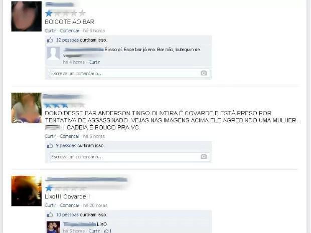 Internautas manifestam na página da rede social do bar (Foto: Reprodução/Internet)
