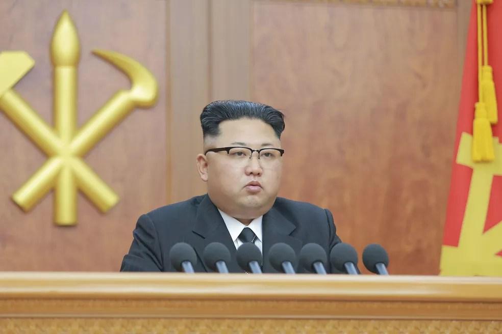O ditador norte-coreano Kim Jong-un (Foto: KCNA/via Reuters)