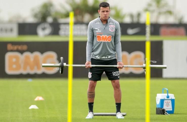 Sidcley durante treinamento no Corinthians — Foto: Rodrigo Coca/Ag. Corinthians