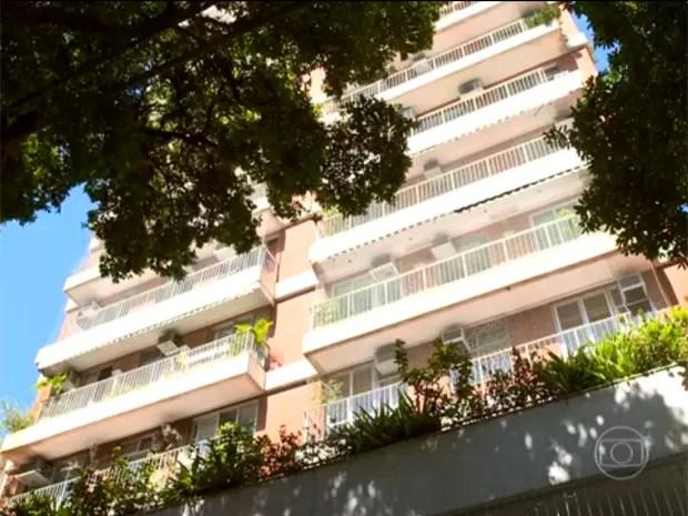 Prédio em que Mosquito trabalha e tem um apartamento (Foto: Encontro com Fátima Bernardes/TV Globo)
