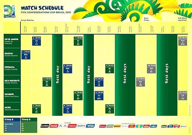 tabela da Copa das Confederações Brasil FIFA (Foto: Reprodução)