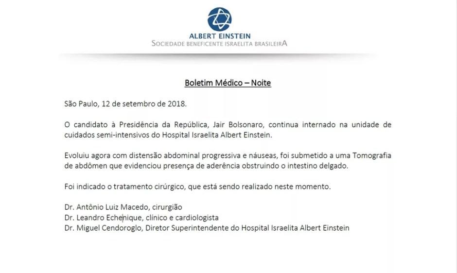 Boletim médico sobre saúde de Bolsonaro — Foto: Reprodução