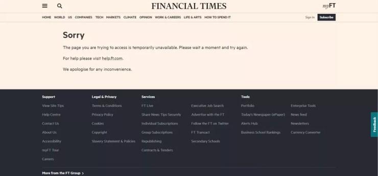 """Site do jornal britânico """"Financial Times"""" fora do ar na manhã de 8 de junho de 2021 — Foto: Reprodução/ft.com"""