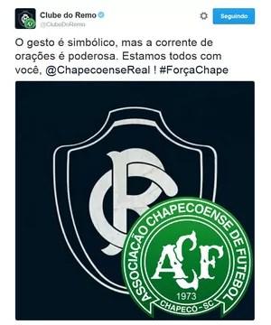 Clube do Remo se solidariza com Chapecoense (Foto: Remo/Twitter)