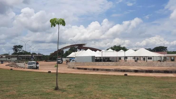 Local de realização da 6ª edição do Concafé, no Complexo Beira Rio, às margens do rio Machado — Foto: Ésio Mendes