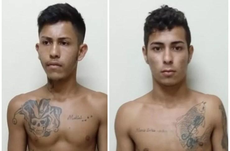 Dupla foi presa suspeita de roubo e incêndio de carro no Bujari — Foto: Divulgação/Polícia Civil