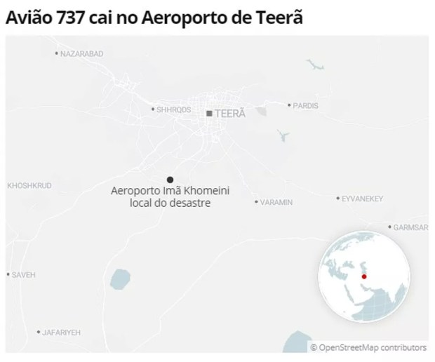 Mapa mostra local do desastre com avião ucraniano perto de Teerã — Foto: G1