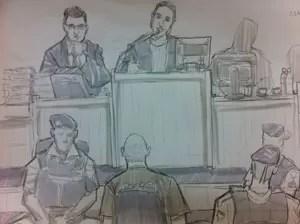 Macarrão é interrogado pelo júri popular no Fórum de Contagem (Foto: Leo Aragão/G1)