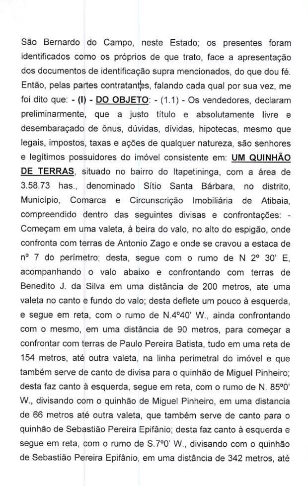 Minuta de contrato de venda do sítio em Atibaia para Lula pag.2 (Foto: Reprodução)
