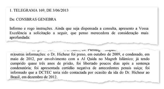 INFORME Telegrama mostra que governo brasileiro sabia da condenação do cientista francês (Foto: Reprodução)