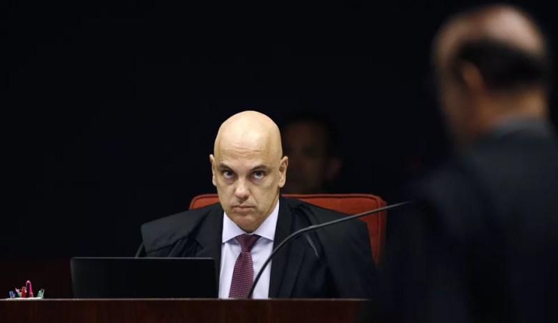 O ministro Alexandre de Moraes durante sessão da Primeira Turma do Supremo Tribunal Federal (STF) — Foto: Rosinei Coutinho/STF